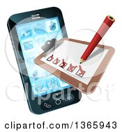 Clipart Of A 3d Pencil And Survey Check List Emerging From A Smart Phone Screen Royalty Free Vector Illustration