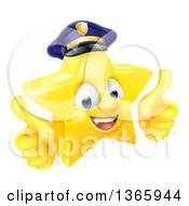 Clipart Of A 3d Happy Golden Police Office Star Emoji Emoticon Character Wearing A Hat And Giving Two Thumbs Up Royalty Free Vector Illustration