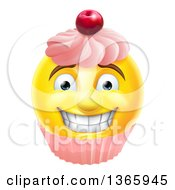 Clipart Of A 3d Happy Yellow Male Smiley Emoji Emoticon Face Cupcake Royalty Free Vector Illustration by AtStockIllustration