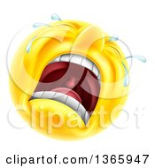 Clipart Of A 3d Yellow Male Smiley Emoji Emoticon Face Crying Royalty Free Vector Illustration by AtStockIllustration