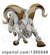 Clipart Of A Cartoon Tough Angry Ram Sheep Charging Forward Royalty Free Vector Illustration