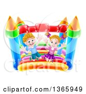 Clipart Of A Cartoon Happy Caucasian Boy And Girl Jumping On A Bouncy House Castle Royalty Free Vector Illustration