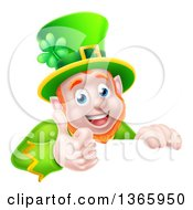 Clipart Of A Cartoon Happy St Patricks Day Leprechaun Giving A Thumb Up Over A Sign Royalty Free Vector Illustration by AtStockIllustration