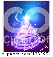 Clipart Of A Christmas Tree Formed Of Music Notes On Blue Royalty Free Vector Illustration by AtStockIllustration