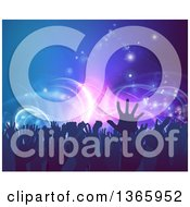 Clipart Of A Crowd Of Silhouetted Concert Goer Hands Over Neon Lights On Blue Royalty Free Vector Illustration by AtStockIllustration