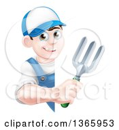Clipart Of A Happy Young Brunette White Male Gardener In Blue Holding A Garden Fork Around A Sign Royalty Free Vector Illustration