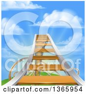 Roller Coaster Track Leading Up To The High Point Against A Blue Sky With Puffy Clouds And Sun Rays