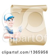 Clipart Of A Happy Brunette Young Caucasian Mechanic Man In Blue Holding An Adjustable Wrench And Looking Around A Blank Scroll Sign Royalty Free Vector Illustration