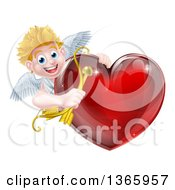 Happy Blond Caucasian Valentines Day Cupid Holding A Bow And Arrow Around A Shiny Red Heart