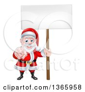 Clipart Of A Christmas Santa Claus Pointing At You And Holding A Blank Sign Royalty Free Vector Illustration