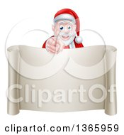 Clipart Of A Christmas Santa Claus Pointing At You Over A Blank Scroll Page Royalty Free Vector Illustration