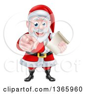 Clipart Of A Christmas Santa Claus Holding A List And Pointing At You Royalty Free Vector Illustration by AtStockIllustration