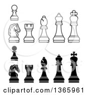 Clipart Of White And Black Chess Pieces Royalty Free Vector Illustration