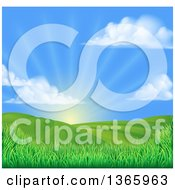 Clipart Of A Morning Sunrise Over A Green Hilly Landscape With Puffy Clouds And Grasses Royalty Free Vector Illustration by AtStockIllustration