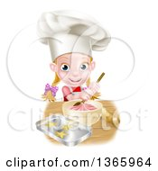 Clipart Of A Cartoon Happy White Girl Making Frosting And Star Cookies Royalty Free Vector Illustration by AtStockIllustration