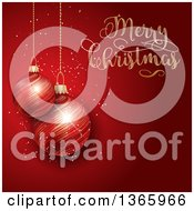 Clipart Of A Merry Christmas Greeting With Suspended 3d Bauble Ornaments Over Red Royalty Free Vector Illustration