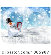 Clipart Of A 3d Snowman Character Carrying Gifts In The Snow Royalty Free Illustration