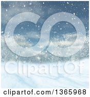 Clipart Of A 3d Winter Landscape Of Trees And Snow Royalty Free Illustration
