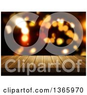 Clipart Of A 3d Wood Table With Blurred Bokeh Flares Royalty Free Illustration