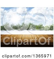 Clipart Of A 3d Wooden Deck Or Table With A Blurred View Of A Forest In The Winter Royalty Free Illustration