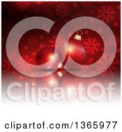 Clipart Of A Christmas Background Of 3d Bauble Ornaments Over Snowflakes And Stars On Red Royalty Free Vector Illustration