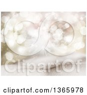 Clipart Of A Christmas Background Of Bokeh Lights And Stars Over 3d Snow Royalty Free Illustration