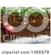 Clipart Of A Background Of Suspended 3d Red Christmas Bauble Ornaments Over Wood Snow And Snowflakes Royalty Free Illustration