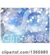 Clipart Of A Blue Snowflake And Star Background Royalty Free Illustration