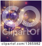 Clipart Of A 3d Suspended Purple Christmas Bauble Ornaments Over Stars And Bokeh Flares Royalty Free Vector Illustration