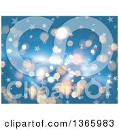 Clipart Of A Christmas Background Of Stars And Bokeh Lights On Blue Royalty Free Illustration