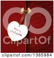 Clipart Of A Merry Christmas Greeting Tag On A Bow Over A Split Red And Text Background Royalty Free Vector Illustration