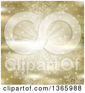 Clipart Of A Golden Snowflake And Star Explosion Background Royalty Free Vector Illustration