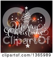 Clipart Of A Merry Christmas Greeting With A Swirl Tree Over Bokeh Flares Royalty Free Vector Illustration