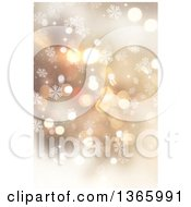 Clipart Of A Gold Christmas Background Of Bokeh And Snowflakes Royalty Free Illustration
