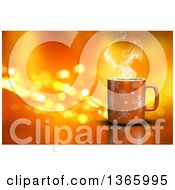 Clipart Of A 3d Hot Cup Of Coffee Over Orange With Flares Royalty Free Illustration