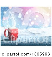 Clipart Of A 3d Hot Cup Of Coffee On A Wood Table Over A Snowy Landscape Royalty Free Illustration by KJ Pargeter
