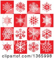 Clipart Of A Background Pattern Of Snowflakes On Red And White Squares Royalty Free Vector Illustration