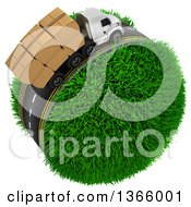 Clipart Of A 3d Roadway With A Big Rig Truck Transporting Boxes Driving Around A Grassy Planet On White Royalty Free Illustration