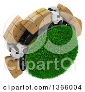 Clipart Of A 3d Roadway With Big Rig Trucks Transporting Boxes Driving Around A Grassy Planet On White Royalty Free Illustration