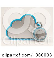 Clipart Of A 3d Cloud Storage Icon With A Round Padlock On Shading Royalty Free Illustration