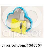 3d Cloud Icon With A Zipped Folder On Off White