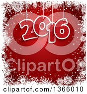 Clipart Of Suspended New Year 2016 Numbers Over Red With A Border Of White Snowflakes Royalty Free Vector Illustration by KJ Pargeter