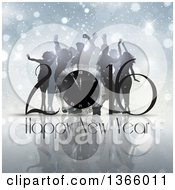 Clipart Of A 3d Clock In A Happy New Year 2016 Greeting Over Silhouetted People Dancing Snowflakes And Flares Royalty Free Vector Illustration