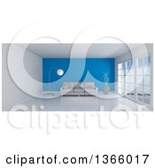 3d White Room Interior With Floor To Ceiling Windows A Blue Feature Wall And Furniture