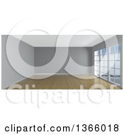 3d Empty Room Interior With Floor To Ceiling Windows Wooden Flooring And A Gray Feature Wall