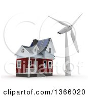 Poster, Art Print Of 3d House With A Wind Turbine Windmill On A White Background