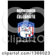 Clipart Of A Retro Saluting Soldier In A Patriotic American Shield With Remember Our Fallen Heroes Celebrate Memorial Day Text On Black Royalty Free Illustration