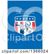 Clipart Of A Retro Soldier Blowing A Bugle In An American Shield With In Remembrance Of The Brave Men And Women Who Have Given Their Lives Celebrate Memorial Day Text On Blue Royalty Free Illustration