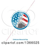 Clipart Of A Retro Soldier Holding A Rifle In An American Flag Circle With In Remembrance Of The Men And Women Who Have Given Their Lives Celebrate Memorial Day Text On White With A Diagonal Red Line Royalty Free Illustration