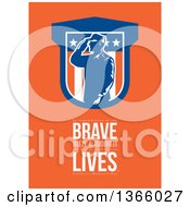 Clipart Of A Saluting Soldier Over In Remembrance Of The Brave Men And Women Who Have Given Their Lives Celebrate Memorial Day Text On Orange Royalty Free Illustration